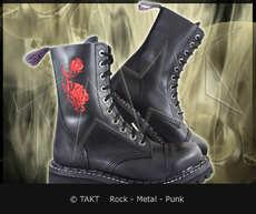 Kožené bot Steadys 10 dírkové výšitá růže Black/ Černé