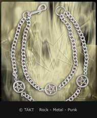 Řetěz na kalhoty pentagram 3 dvojitý