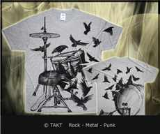Tričko Drums Crows All Print Grey
