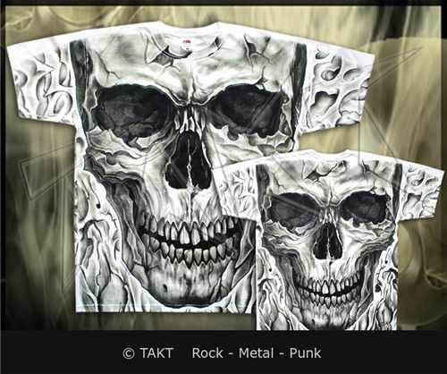 Tričko Big Skull Ii All Print White